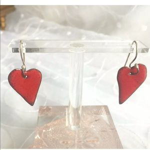 Jewelry - ANDREA COPPER Designer Signed Earrings Red